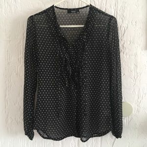 a.n.a Sheer Black White Stars Button-down Blouse